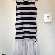 正韓 黑白條紋拼接長裙 背心長洋 韓國製