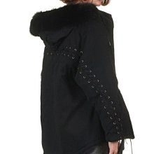 現貨在台 代購maje 時尚秋冬款純棉綁帶黑色外套
