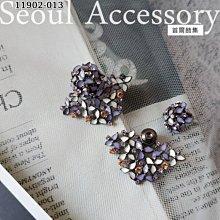 [現貨]首爾飾集 正韓國製 獨特魅惑花朵美鑽扇形後扣式耳環11902-013