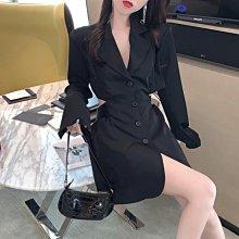 小香風洋裝女神范2020新款秋中長款收腰顯瘦氣質露腰長袖西裝裙 全館免運