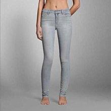 美國Abercrombie High Rise Super Skinny Jeans 0號亮晶銀刷色彈性顯瘦牛仔褲在台