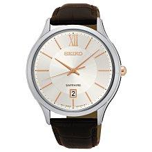 【台南 時代鐘錶 SEIKO】精工 CS系列 SGEH55P1 羅馬字 藍寶石鏡面 日期 皮帶手錶 白 42mm
