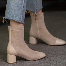 Fashion*定製大小碼短靴 圓頭中跟女靴 百搭舒適33碼44碼45碼/跟高5.5CM 32-46碼 黑色 杏色