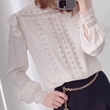 【妖妖代購】Celine 21春夏新款宮廷風蕾絲刺繡立領真絲襯衫上衣