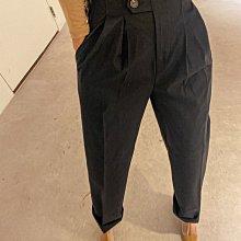 韓國製 高質感 設計感 個性時尚 超有型  超修飾 打摺長褲 中高腰褲 米/黑/黃 特價