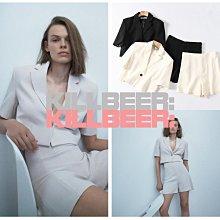 KillBeer:經典就是不會被換之英倫風率性都會OL短版翻領西裝外套/顯瘦高腰西裝短褲套裝絕黑/裸白A090510