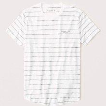 Maple麋鹿小舖 Abercrombie&Fitch * AF 白色條紋印花字母短T *( 現貨M號 )