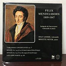 晨雨黑膠【古典】瑞士版GALLO,第一版位/孟德爾頌:大提琴奏鳴曲/Rolf Looser/Brigitte Meyer