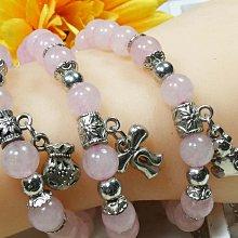 《精品百貨》天然漂亮錢袋/蝴蠂結/小熊三種造型粉水晶設計款手鍊