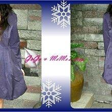 GoGo&MeMe ~紫色打摺大扣子排釦長袖洋裝