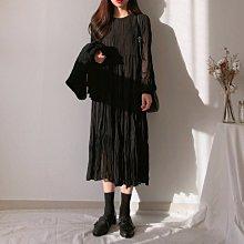 Maisobo 韓國 KOREA 秋冬優雅純色百摺雪紡過膝長袖洋裝 W-217 預購