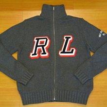 真品Polo Jeans Co.Ralph Lauren深灰色RL大Logo針織毛衣外套~M號