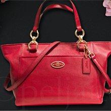 新年喜洋洋 美國名牌 COACH 35030 MINI 專櫃款紅色皮革肩斜背包托特包手提包 全新原廠包裝非OUTLET