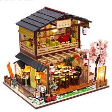 日式吉本壽司店現貨 附防塵罩音樂盒LED燈微景觀娃娃屋 手工製作小房子模型拼裝 交換禮物SH雜貨JU369