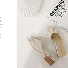 木屐鞋 專櫃質感法式復古抓褶粗跟高跟鞋涼鞋 艾爾莎【TSB8885】