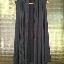 美國品牌 Forever 21 深藍色垂墜領長版背心小外套