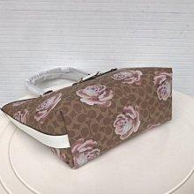 小皮美國正品代購 COACH 31700 新款女士提手包 玫瑰花圖案經典C字紋托特包 單肩包 大容量 附購買憑證