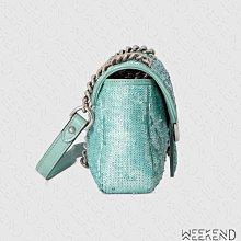 【WEEKEND】 GUCCI Mini GG Marmont Sequin 亮片 迷你款 肩背包 淺綠色 446744