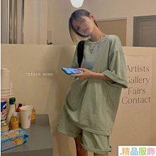 韓國牛油果綠簡約舒適休閑套裝短袖套裝家居套裝現貨兩件套【精品服飾】asdfk1661