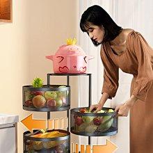 可旋轉免安裝蔬菜水果3層收納架,旋轉藍設計,抽拉式旋轉,收納整潔易拿取。