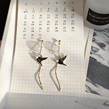 淘趣批發/簡約手作時尚氣質玻璃泡泡可愛滴油小燕子S曲線長款耳環耳釘耳夾(型號不同價格不同)