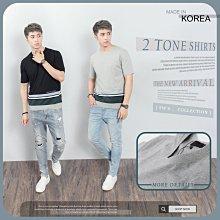 下殺429。SW。【K11758】正韓VA 韓國製 極簡拼接 電繡字母 彈性棉質 觸感舒適 黑灰 短袖T 英倫GD