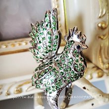 黑爾典藏西洋古董 ~ 純 925 銀 奢華密鑲祖母綠寶石3D立體公雞銀戒 ~ 珠寶 鑽石 水晶 ~