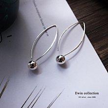 一體成形銀珠柳葉型925純銀耳環(小) (T-ER423)(現貨)【Ewin 創物】