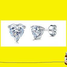 鑽石耳環0.4克拉心型 舒適 不過敏 結婚 情人節禮物 鑽石高仿真鑽石純銀戒指 首飾   FOREVER莫桑鑽寶 超取付款 免運費 購物愉快 有保障