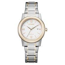 【台南時代鐘錶 CITIZEN】星辰 FE1226-82A 光動能羅馬字 日期顯示鋼錶帶女錶 白/淺金 30mm 對錶
