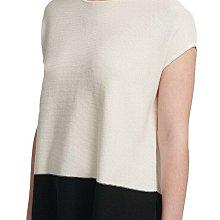 全新有牌美國品牌DKNY 大尺碼黑白對比撞色休閒短袖上衣  L號