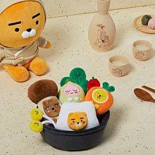 韓國 Kakao Friends 萊恩 屁桃 全州 石鍋拌飯 娃娃 超可愛 食材 7入 玩偶 禮物 限量 Ryan