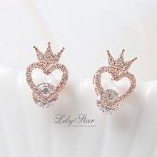 LilyStar.閃耀之心鏤空王冠夾鑽耳環 【IL1864】