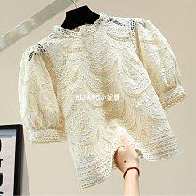 落葉雕花泡泡袖短款溶花蕾絲衫(4色)現貨-NIJIANG小妮醬