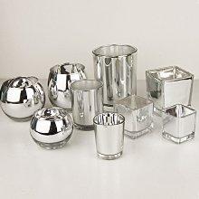 熱銷#電鍍銀玻璃杯DIY杯蠟燭臺防風杯自制蠟燭杯diy香薰杯空材料送蠟#燭臺#裝飾