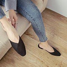 時尚亮晶晶包頭女涼鞋 前衛美感拼接尖頭平底半拖鞋 艾爾莎【TSB8815】