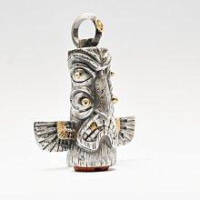 宏美飾品館~偶嶼925純銀圖騰柱吊墜原創印第安圖騰雷鳥掛件手工個性印章擺件A
