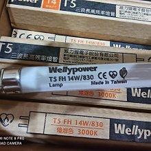 台灣製造 T5  三波長高效率燈管 14W 2尺黃光 威力盟 高亮度 40入