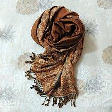 異國文藝風 可可色棉麻柔軟親膚流蘇大披肩圍巾