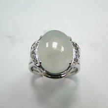 (板信當舖流當品) 玻璃種 A貨 蛋面 翡翠鑽戒 附中國寶石證書 喜歡價可議 PH048