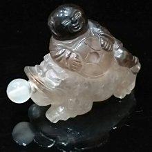 天然老水晶 清代 『純天然立體圓雕水晶 《年年有餘招財童子》 水晶鼻煙壺小擺件』