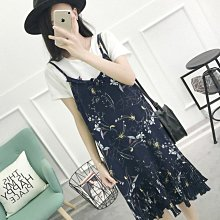 【An Ju Shop】外單 韓國範 荷葉邊寬鬆V領碎花中長款吊帶連衣裙洋裝