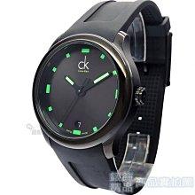 Calvin Klein CK 手錶 K2V214DX 黑炫神秘 螢光綠時標日期黑膠帶 男錶【錶飾精品】