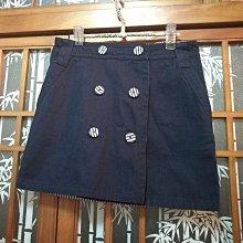 時尚海洋風 雙排釦 一片裙 短裙 可雙面穿 超美 少見