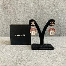 【哈極品】二手品《CHAENL 香奈兒 拉絲LOGO 粉白鑽 金屬造型耳針/耳環/耳夾/配件》