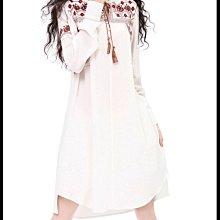 《現貨免運》 不規則  襯衫裙 復古刺繡連衣裙 洋裝 B9019 Baonizi 寶妮子