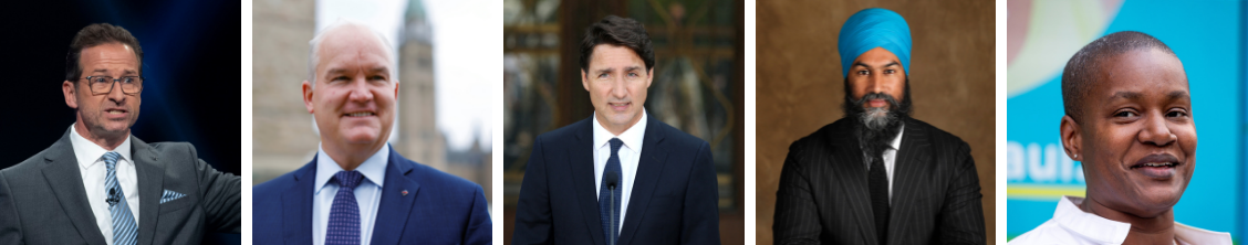 Canada's federal election . Leaders include Yves-Francois Blanchet of the Bloc Quebecois, Erin O'Toole of the Conservatives, Justin Trudeau of the Liberals, Jagmeet Singh of the NDP and Annamie Paul of the Green Party of Canada.