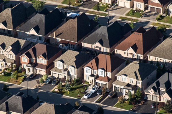A suburban neighbourhood in Canada's real estate market.