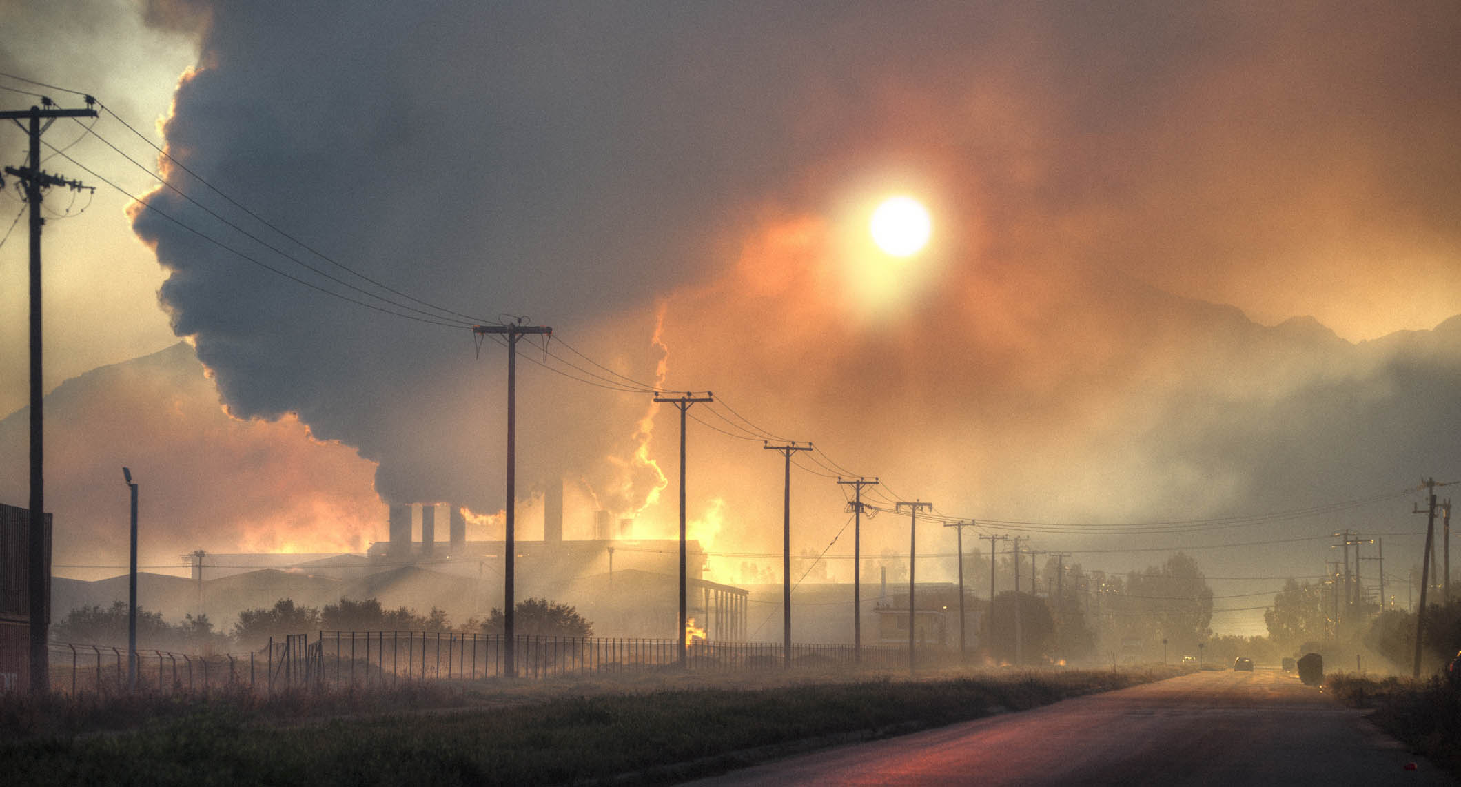 A photo of a skyline shrouded in a smokey haze.