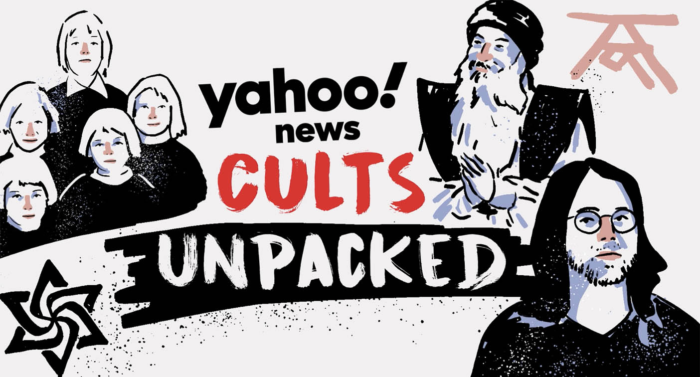 A graphic which reads 'Yahoo! News Cults Unpacked' with a drawing of children as well as two men.